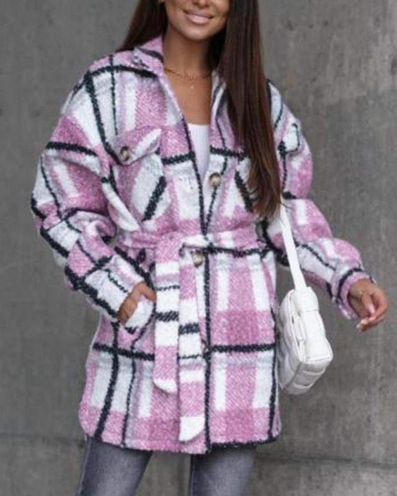 Plaid Print Button Through Pocket Detail Belted Coat gallery 5