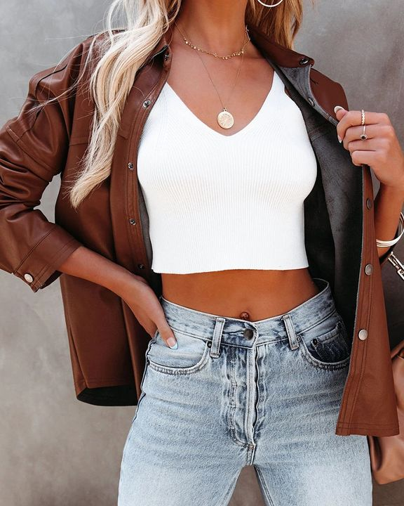 PU Leather Button Up Jacket gallery 14