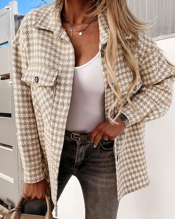 Houndstooth Pattern Button Up Flat Pocket Jacket gallery 3