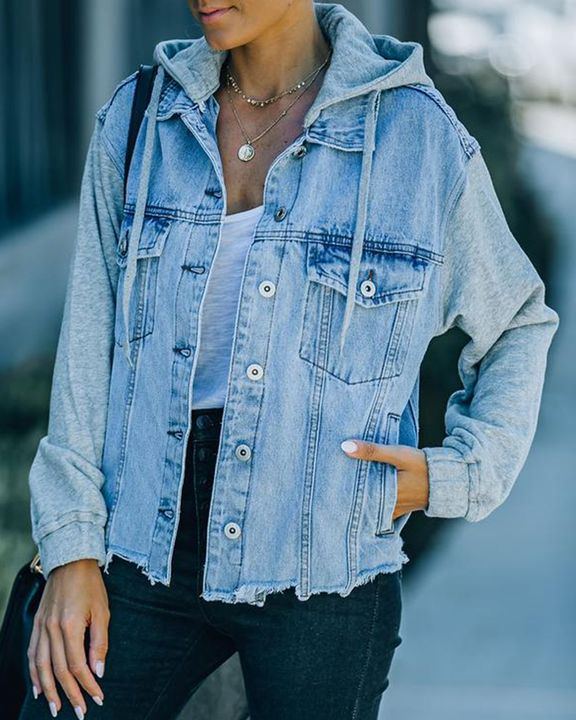 Raw Edge Drawstring Flap Pocket 2 In 1 Hooded Denim Jacket gallery 8
