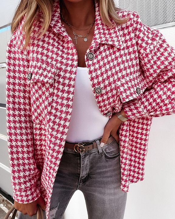 Houndstooth Pattern Button Up Flat Pocket Jacket gallery 1