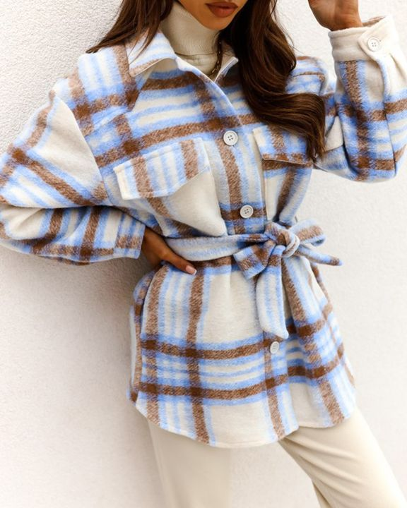 Plaid Button Up Self Belted Flap Pocket Coat gallery 6