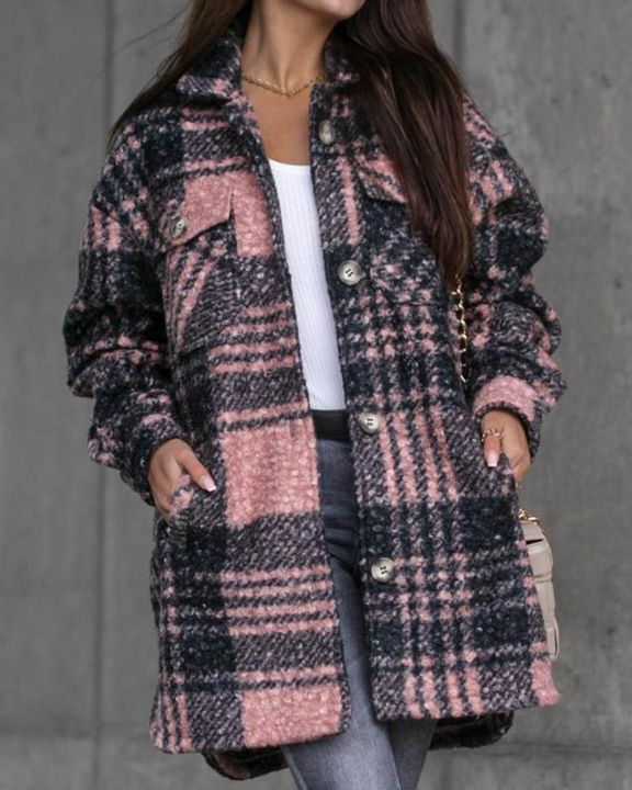 Plaid Print Button Through Pocket Detail Belted Coat gallery 2