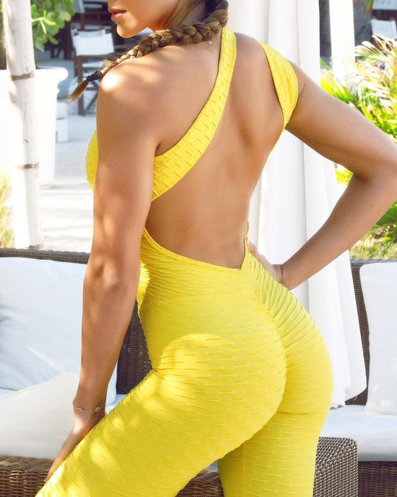Textured Criss Cross Cut Out Sports Jumpsuit gallery 2