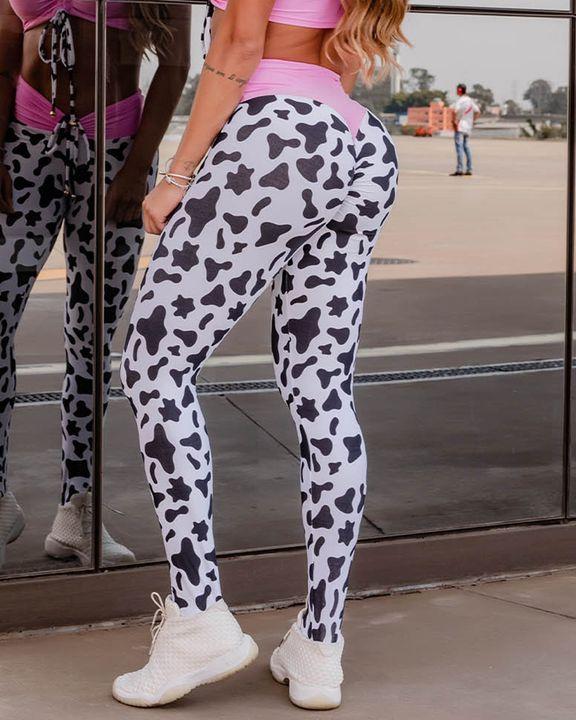 Colorblock Cow Print Drawstring High Waist Sports Leggings gallery 3