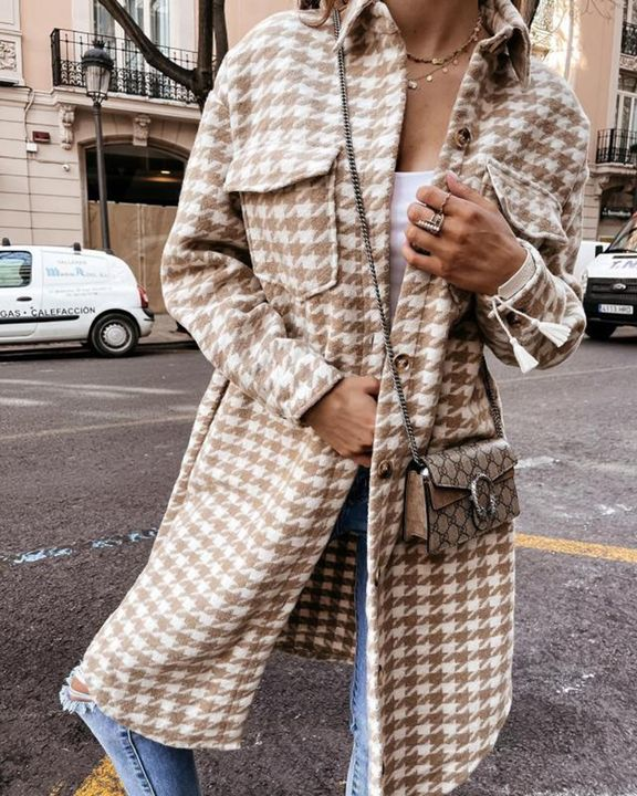 Houndstooth Pattern Button Up Curved Hem Coat gallery 2