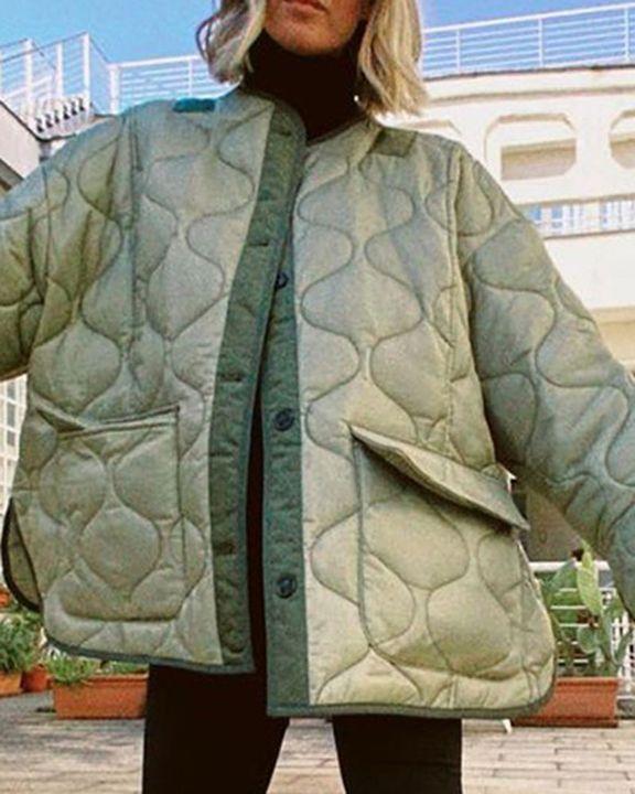 Flap Pocket Button Front Split Hem Quilted Coat gallery 2