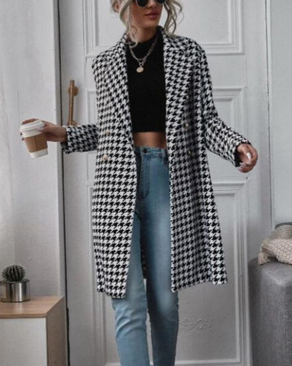 Houndstooth Print Double Breasted Lapel Neck Coat gallery 1