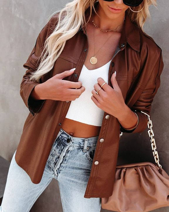 PU Leather Button Up Jacket gallery 16
