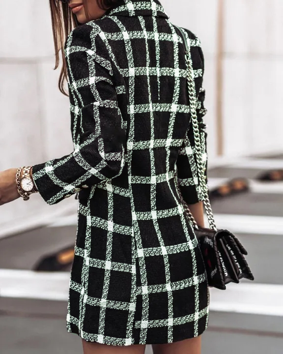 Houndstooth Double Breasted Lapel Neck Coat gallery 17