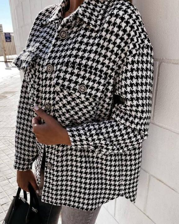 Houndstooth Pattern Button Up Flat Pocket Jacket gallery 11