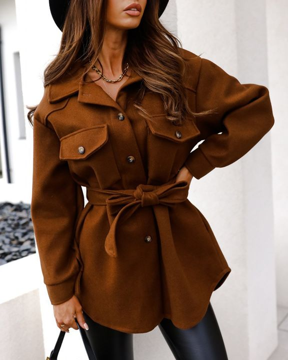 Solid Button Up Belted Flat Pocket Coat gallery 5