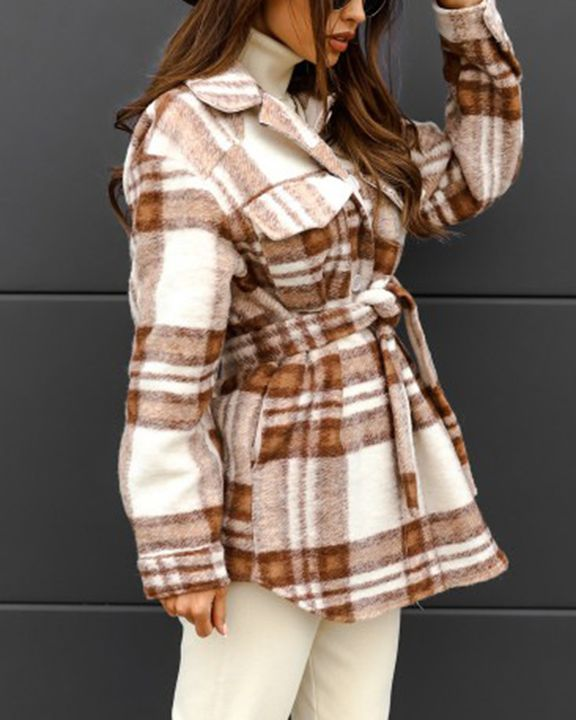 Plaid Button Up Self Belted Flap Pocket Coat gallery 14