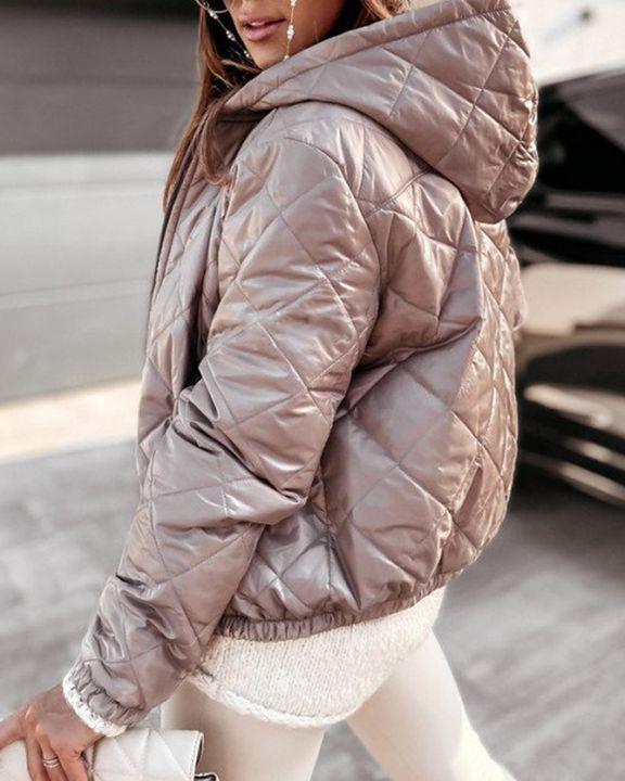 Argyle Quilted Zip Up Elastic Hem Hooded Jacket gallery 10