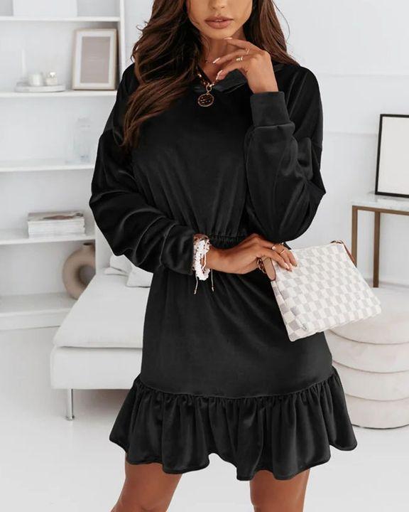 Velvet Solid Ruffle Hem Elastic Hooded Mini Dress gallery 9