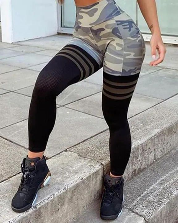 Camo Colorblock Wide Waistband Sports Leggings gallery 3