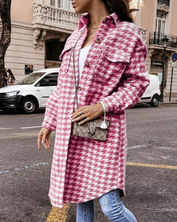 Houndstooth Pattern Button Up Curved Hem Coat gallery 9