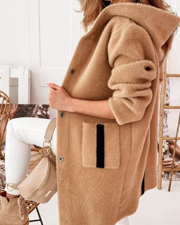 Colorblock Button Up Patch Pocket Teddy Coat gallery 4