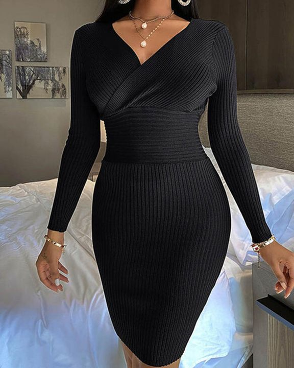 Solid Ribbed Surplice Neck Bodycon Mini Dress gallery 7