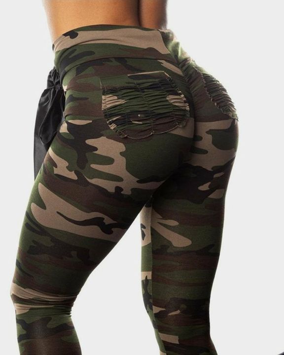 Camo Print Drawstring Waist Ruched Pocket Back Sports Leggings gallery 2