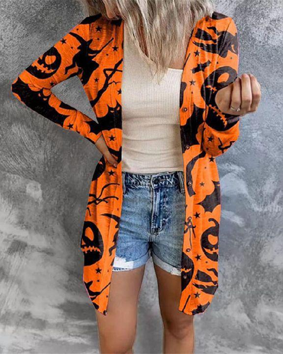 Halloween Batwing & Pumpkin Print Button Up Cardigan gallery 1