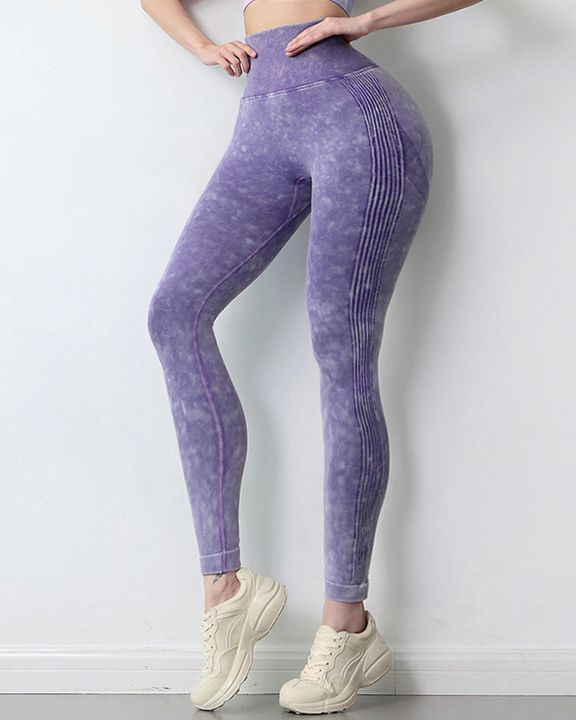 Tie Dye Scrunch Butt Wide Waistband Sports Leggings  gallery 13