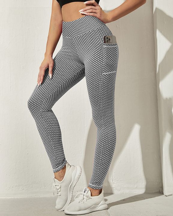 Honeycomb Textuerd Pocket Side Sports Leggings gallery 28