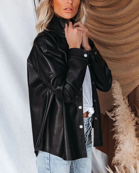 PU Leather Button Up Jacket gallery 10