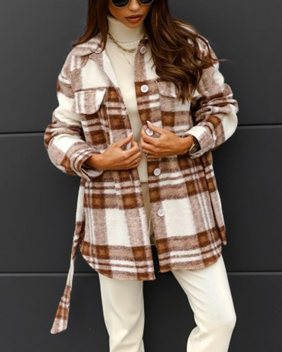 Plaid Button Up Self Belted Flap Pocket Coat gallery 11