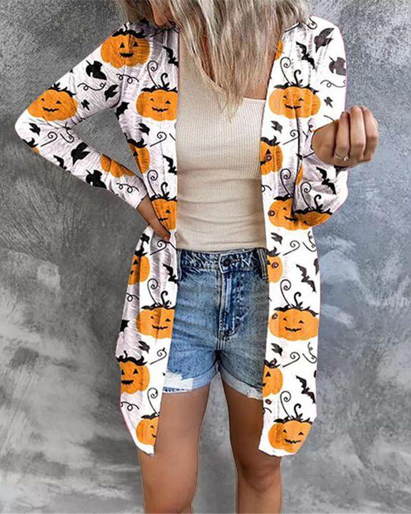 Halloween Batwing & Pumpkin Print Button Up Cardigan gallery 6