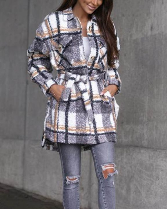 Plaid Print Button Through Pocket Detail Belted Coat gallery 12