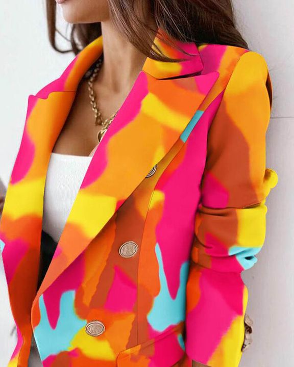 Allover Print Double Breasted Blazer gallery 2