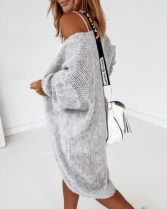 Solid Chunky Knit Drop Shoulder Open Front Cardigan gallery 12