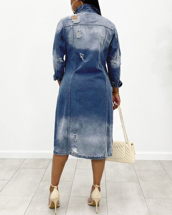 Ripped Button Up Flap Pocket Longline Denim Coat gallery 7