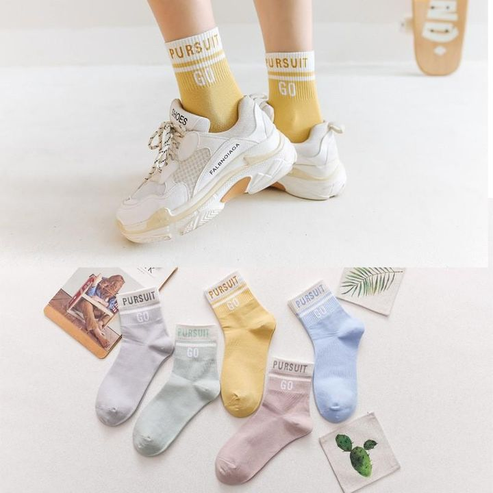 1 Pair Graphic Embroidery Ribbed Random Color Crew Socks gallery 7