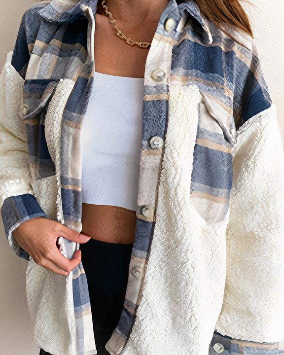 Plaid Print Button Front Flap Pocket Teddy Coat gallery 2