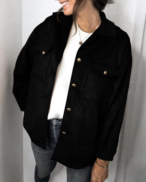 Solid Button Front Flat Pocket Jacket gallery 3