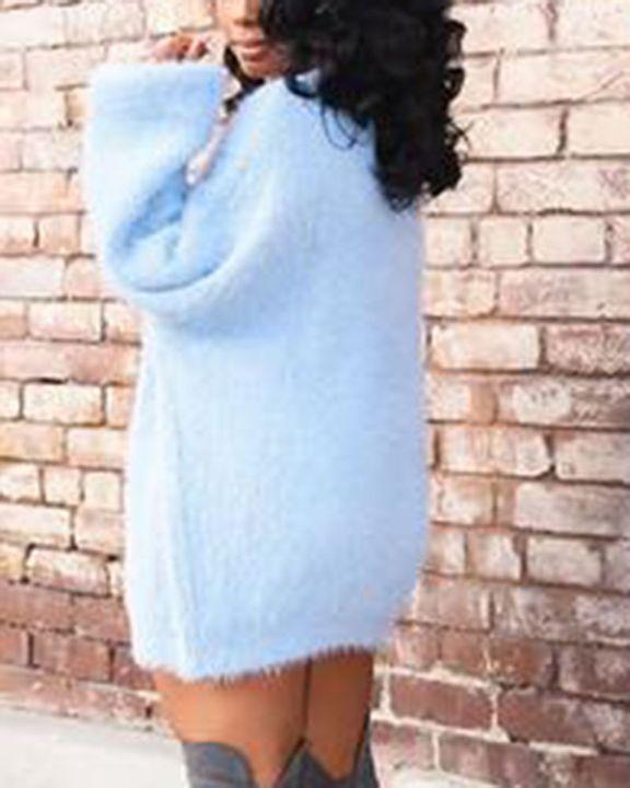 Solid Fuzzy Round Neck Mini Sweater Dress gallery 6
