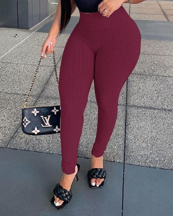 Solid Textured High Waist Skinny Pants gallery 5