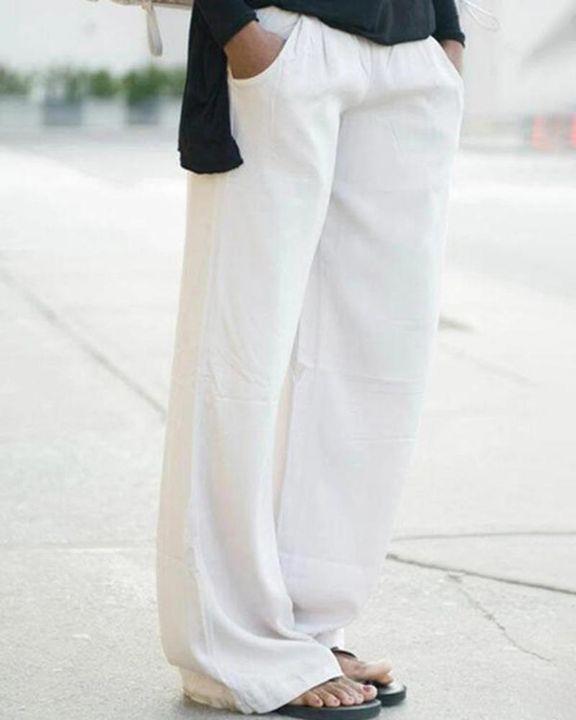 Solid Slant Pocket Mid Waist Wide Leg Jeans gallery 1