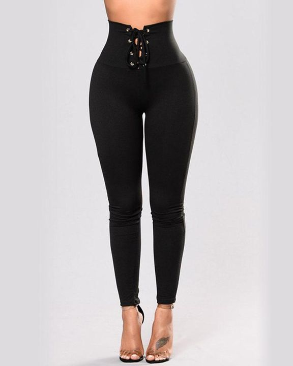 High Waist Eyelet Lace Up Skinny Pants gallery 1