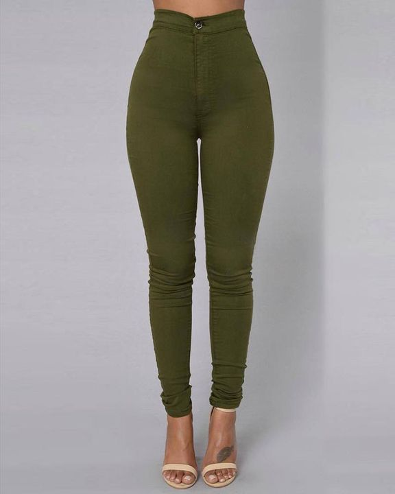 Solid Patch Pocket High Waist Zip Fly Skinny Pants gallery 5