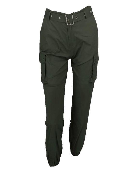 Buckle Belt Flap Pocket High Waist Pants gallery 6
