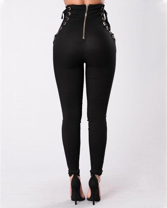 Eyelet Lace Up Side Zip Up Back High Waist Pants gallery 4