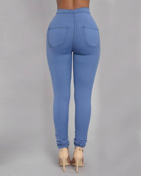 Solid Patch Pocket High Waist Zip Fly Skinny Pants gallery 12