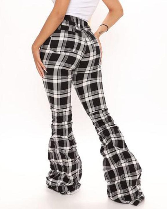 Plaid Print Stacked Wide Leg Pants gallery 3