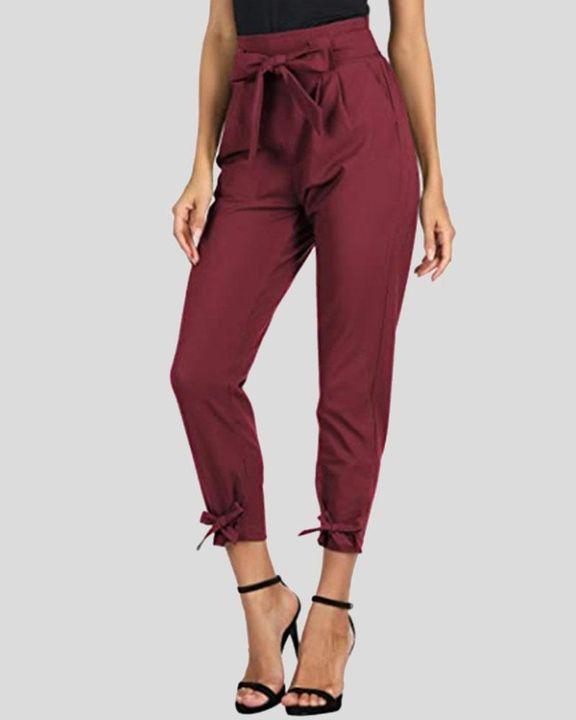 Solid Bow Decor Tie Hem Crop Pants gallery 1