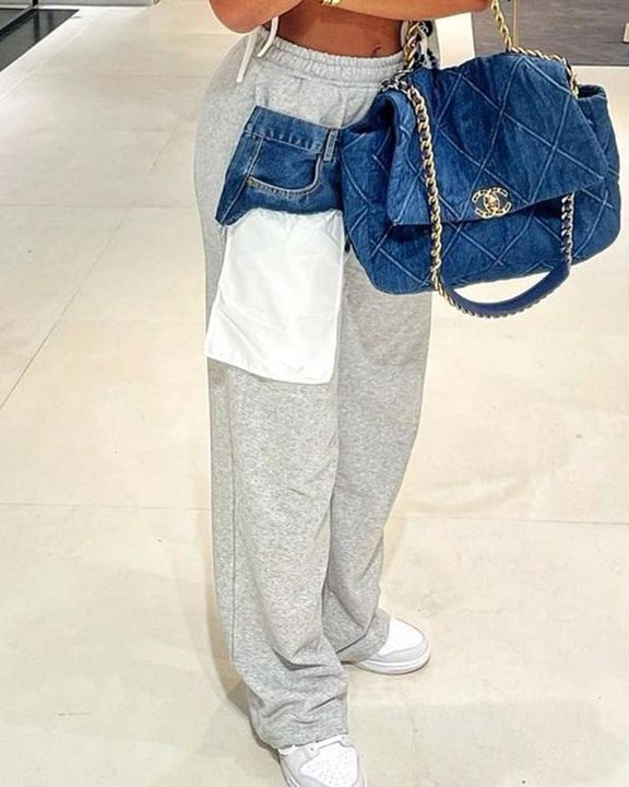 Patched Pocket Detail Drawstring Waist Straight Leg Pants gallery 3