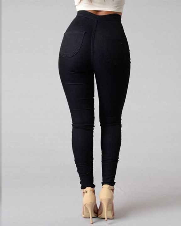 Solid Patch Pocket High Waist Zip Fly Skinny Pants gallery 8