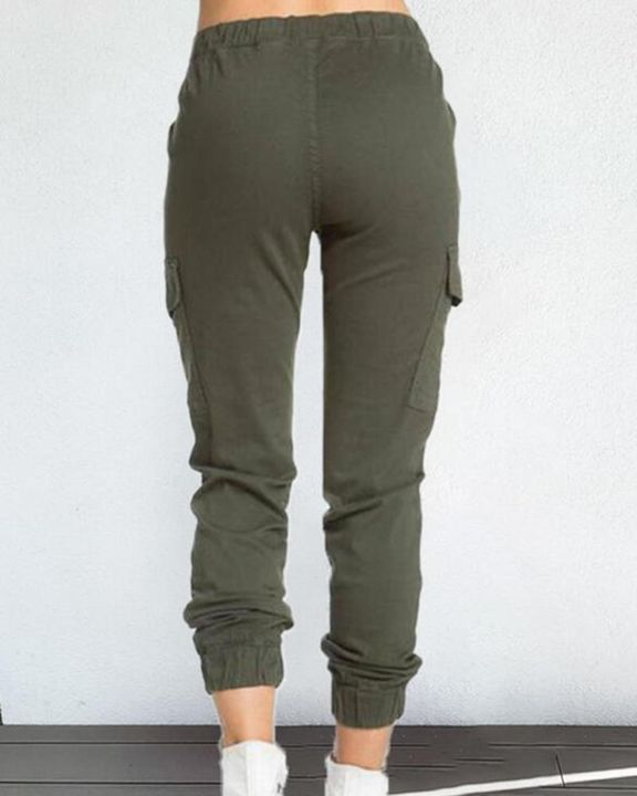 Solid Drawstring Flap Pocket Side Joggers gallery 4